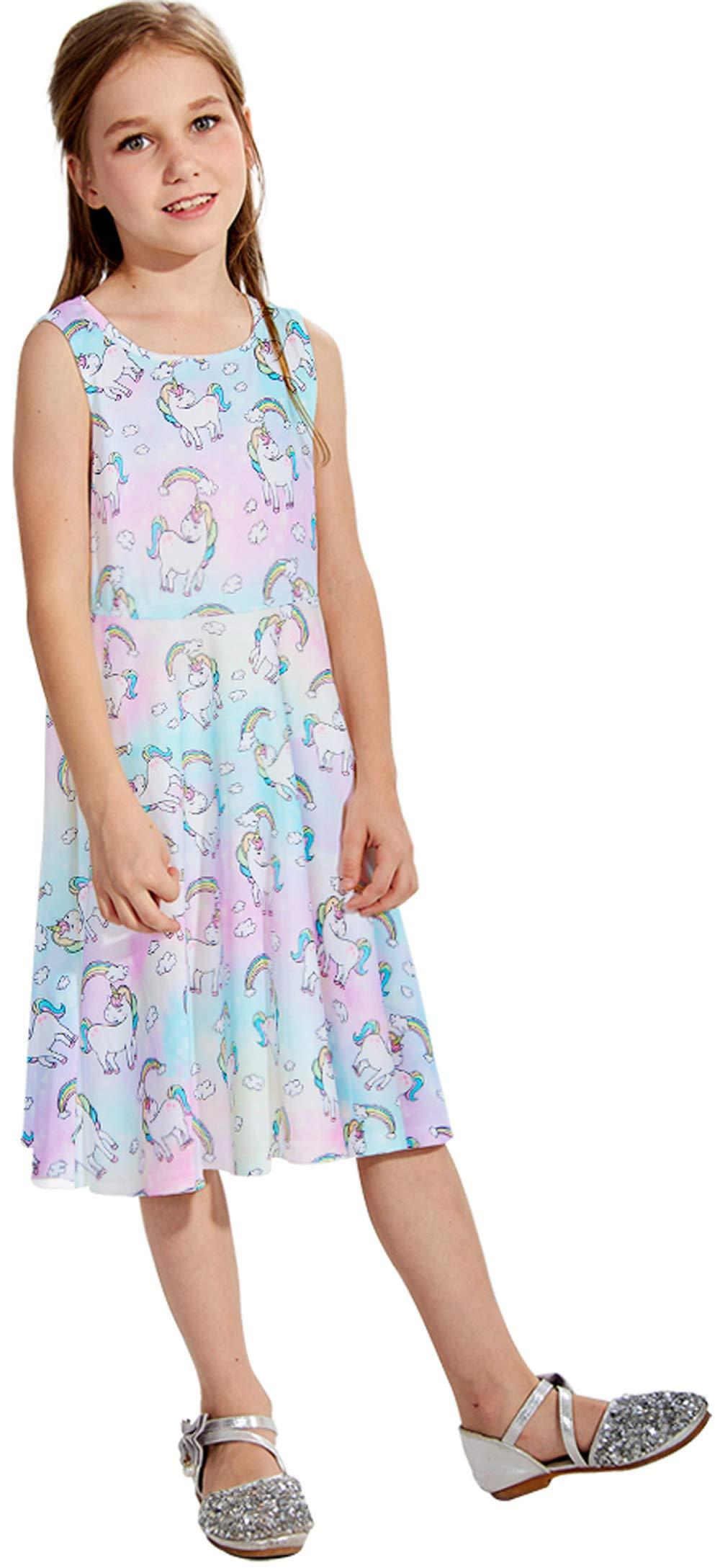 Kid\'s Round Neck Unicorn Dresses Vintage for Wedding Party Tutu Sundress Casual Dress for Girls Cocktail Picnic Dresses White M Size (6-7T)