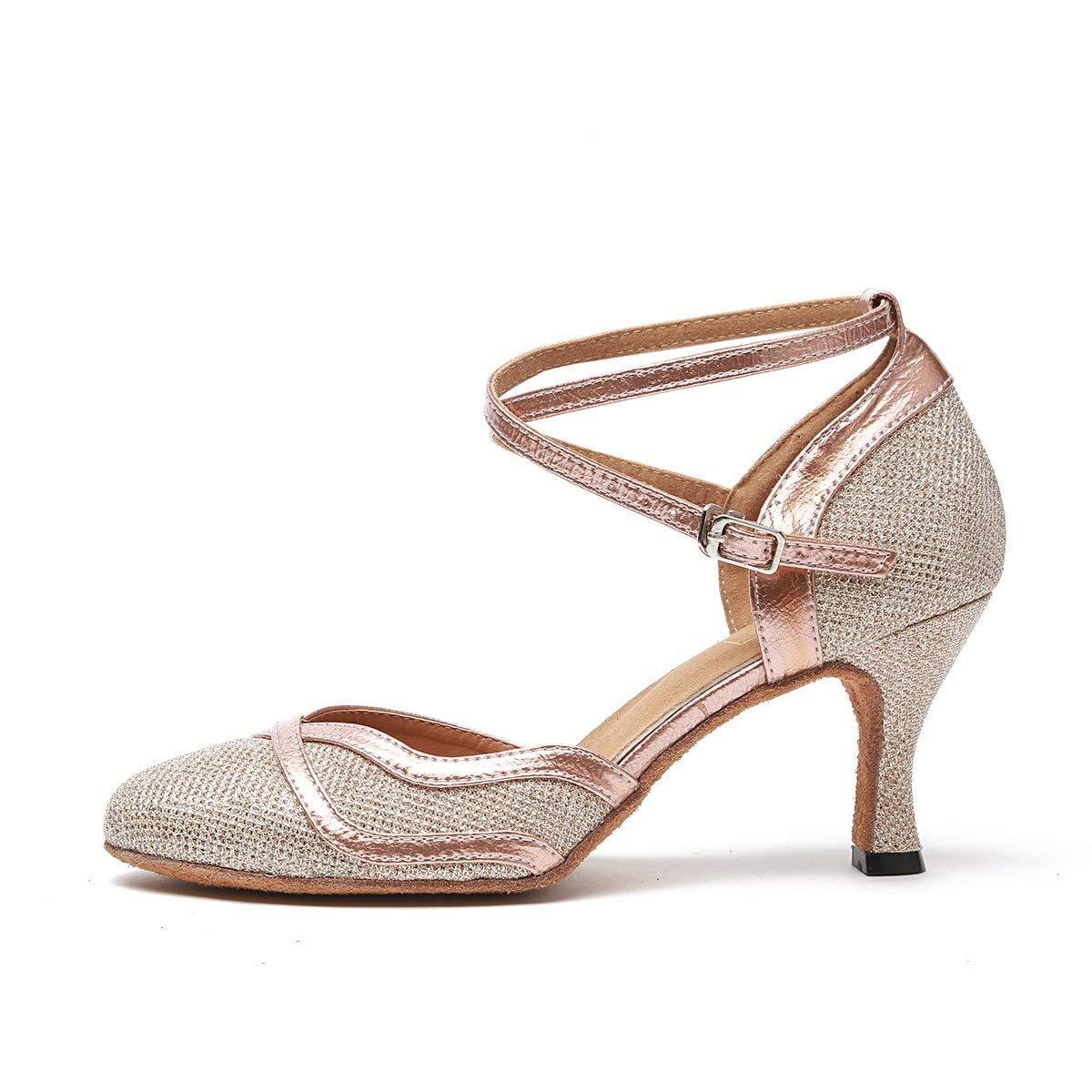 Qiusa Frauen Glitter Glitter Glitter Ballroom Latin Tanzschuhe Party Hochzeit Heels (Farbe   Champagne-7.5cm Heel Größe   4 UK) d5dfdc