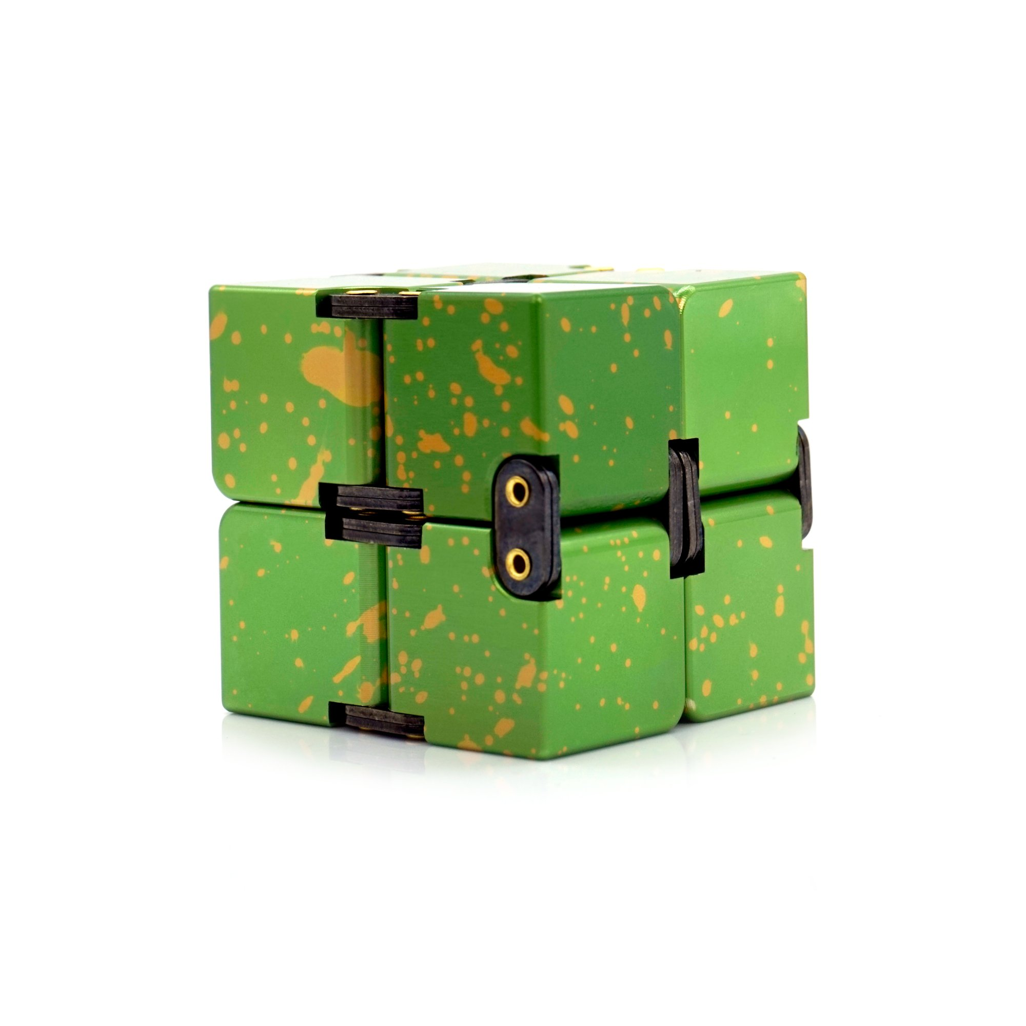 Metal Infinity Cube, Gazeto Durable Aluminum Alloy Decompression Toys, Pressure Reduction Educational Toys Stress Relief Toy Games Square Cube for Adult and Children, Sky Type, Green