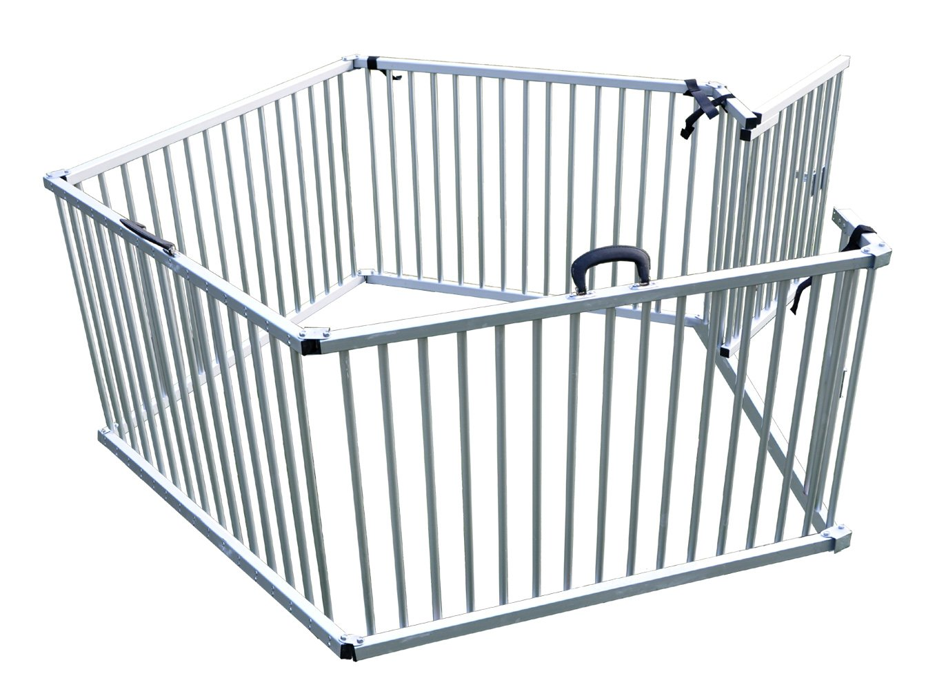 Cool Runners Secure Aluminum Portable Expandable Pet Enclosure 5 Sections (25''H x 30''L per Section) Lightweight & Collapsible