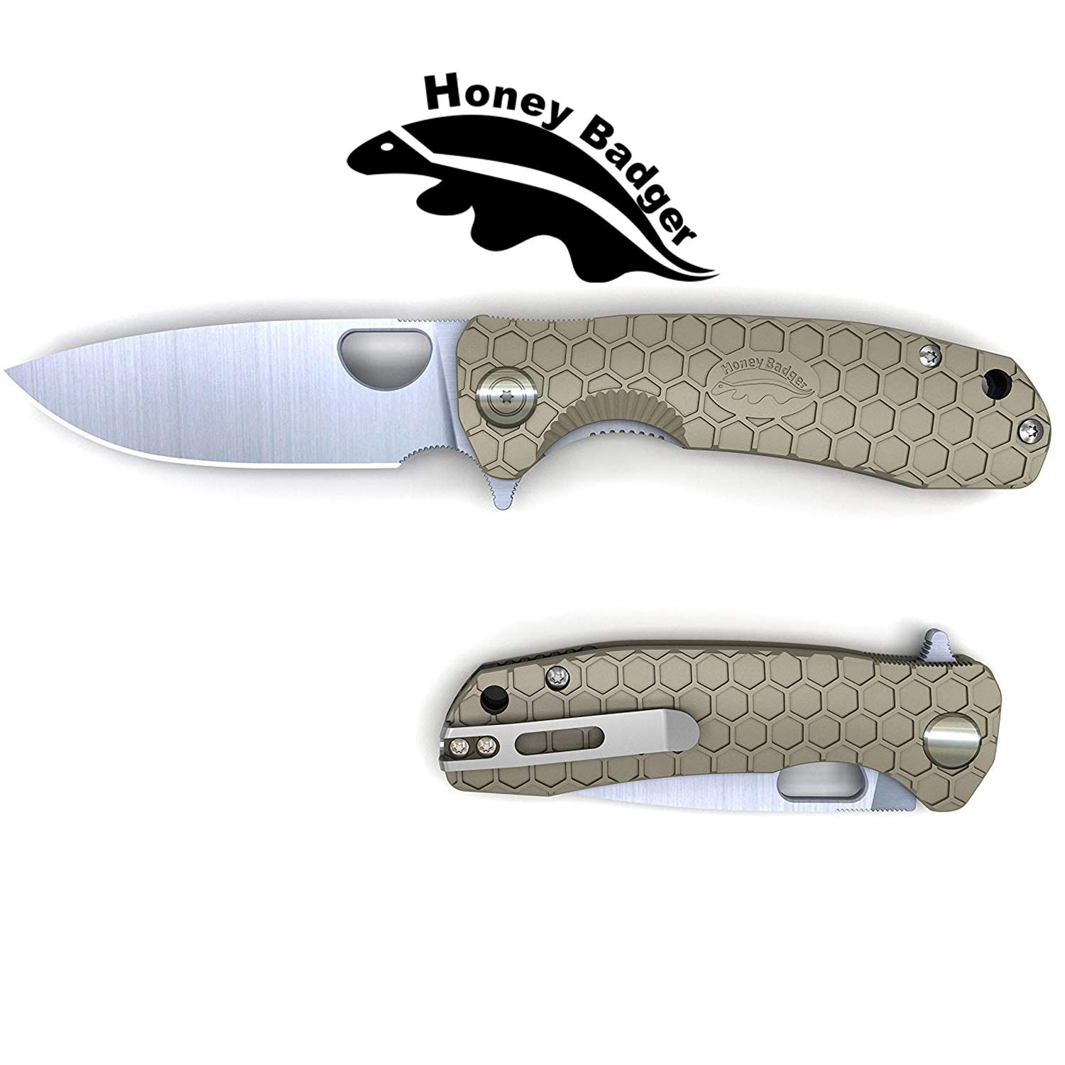 Honey Badger Pocket Knife EDC Flipper Liner Lock Folding Tactical Hunting Fishing Knife 8cr13MOV Steel Deep Pocket Carry Gift Box with Torx Wrench (Tan, Small 2.57oz - 3.7'' Closed - 2.81'' Blade) by Western Active