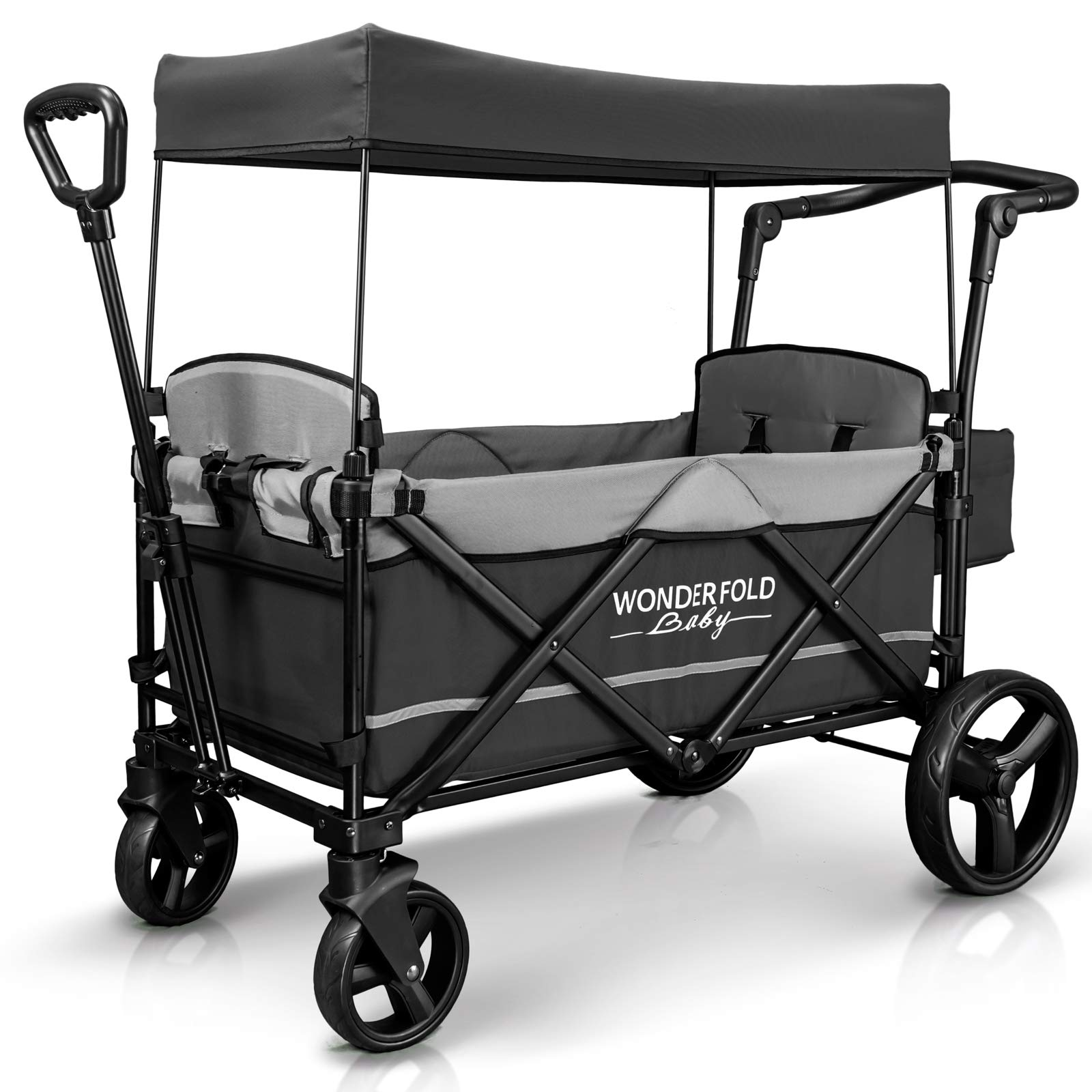 WonderFold Baby XL 2 Passenger Push Pull Twin Double Stroller Wagon with Adjustable Handle Bar, Removable Canopy, Safety Seats with 5-Point Harness, One-Step Foot Brake, Safety Reflective Strip (Gray)