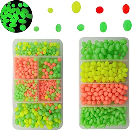 200PCS Luminous Fishing Beads Assorted Oval Shape Bead Lure Glow Tools
