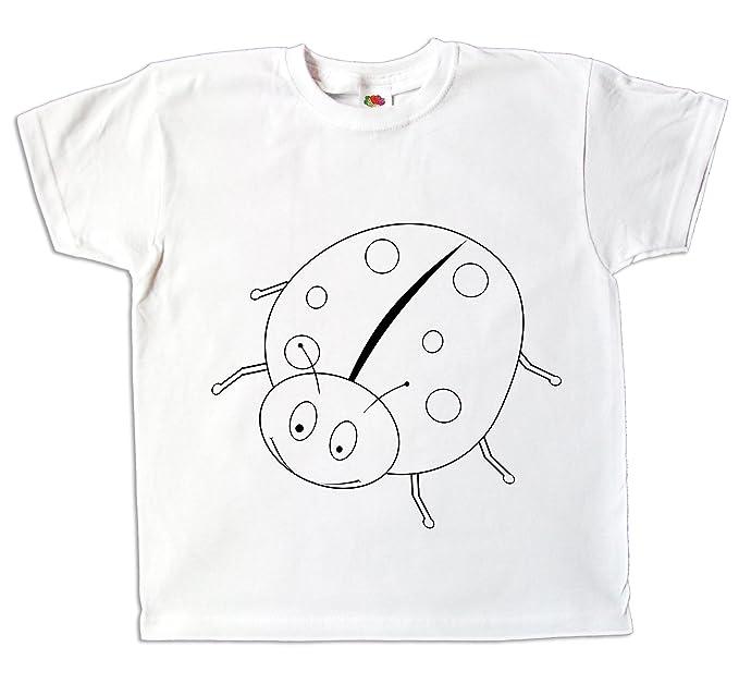e40fb90e7cf78 Pixkids Kinder T-Shirt Glückskäfer Marienkäfer Zum bemalen und ausmalen mit  Vordruck Spiel Zum Kindergeburtstag