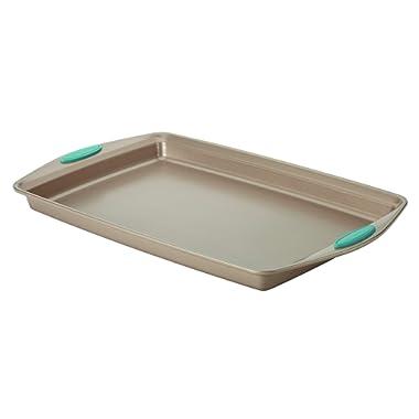 Rachael Ray Cucina Nonstick Bakeware Baking Pan / Cookie Sheet, Baking Sheet, 11-Inch x 17-Inch, Latte Brown, Agave Blue Handle Grips