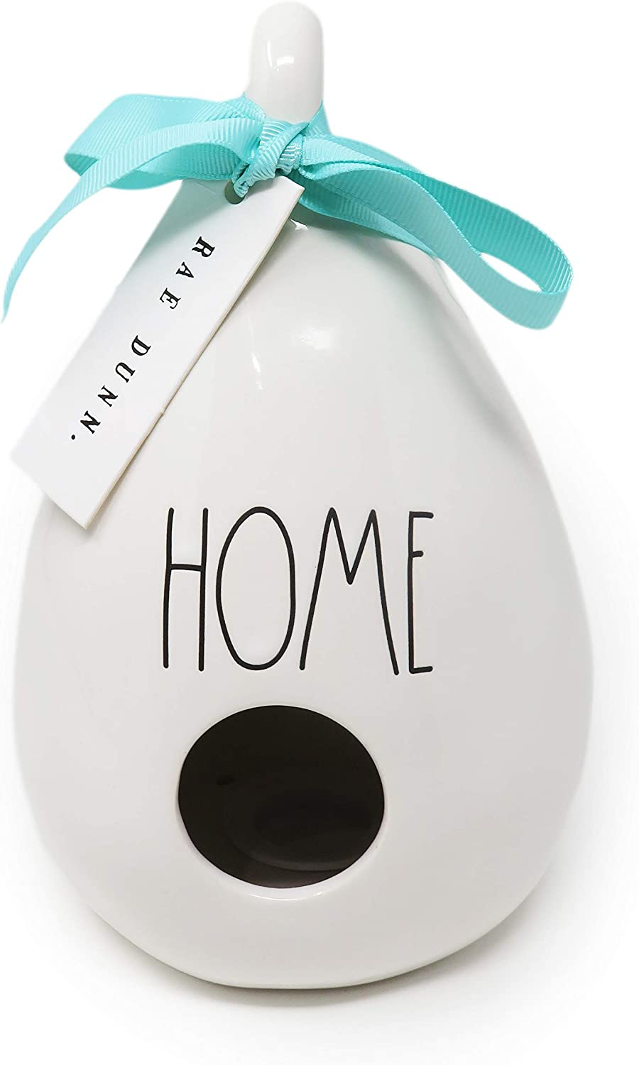 Rae Dunn By Magenta Home Ceramic LL Pear Teardrop Shaped Decorative Birdhouse with Dragonfly Image Art & Mint Blue Ribbon 2020 Limited Edition