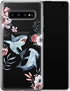 Vonna Phone Case for Samsung Galaxy S20 S10 Note 10 Plus 5G S9 S8 S7 S6 Whale Shark Flowers Design Print Floral Girl Fish Love Lightweight Cover Cute Flexible Slim fit Smooth Soft Art Teen a360