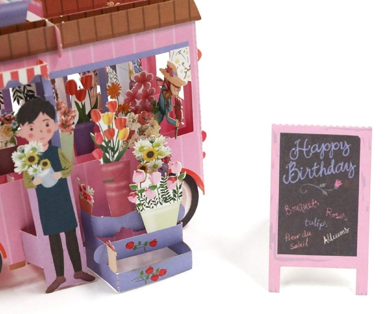 BC Worldwide Ltd main 4D pop up joyeux anniversaire carte rose fleur van vintage carte de voeux saisonni/ère pour copain copine partenaire
