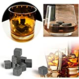 Cozyswan Whisky Pierres Ice Cubes Glaçons en Pierre 9pcs Gris avec Un Sac de Cordon en Velours Noir