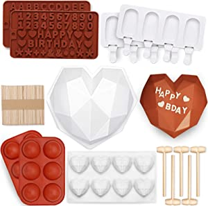 123 Pcs Heart Silicone Molds Set Includes 1x Breakable Heart Mold,1x 8 Cavities Heart Mold,15x Wood Hammers,2x Number and Letter Molds,2x Popsicle Molds,100x Popsicle Sticks,2x Chocolate Bomb Molds