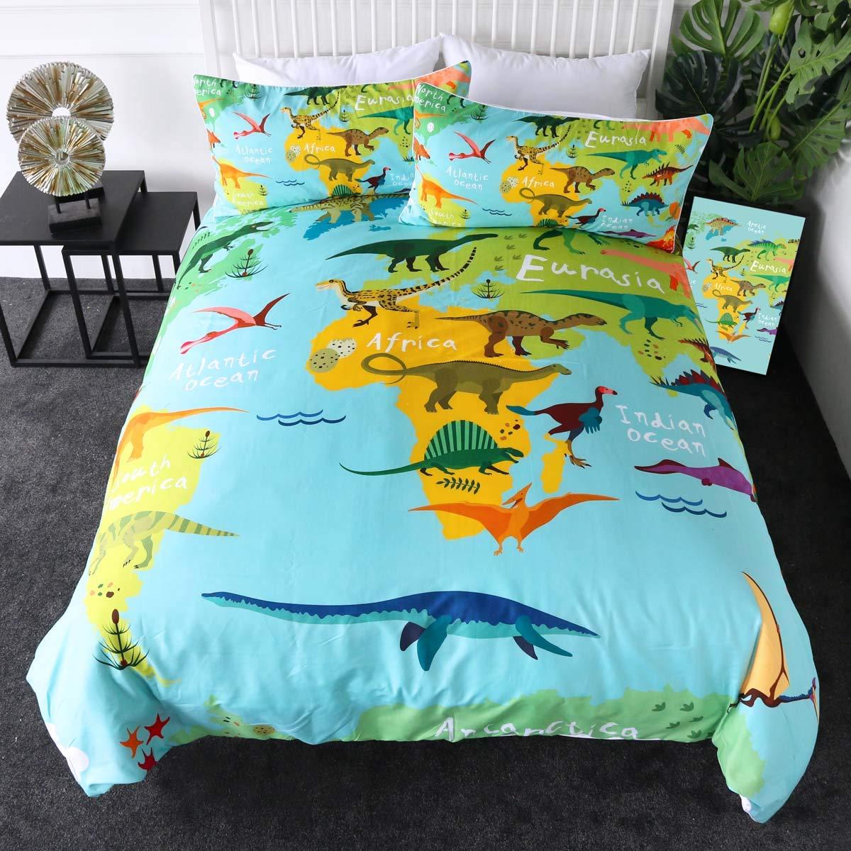 Sleepwish Dinosaur Duvet Cover World Map with Dinosaurs Bedding 3 Pieces Boy Dinosaur Lover Bedroom Set Kids Bed Linen (Twin)