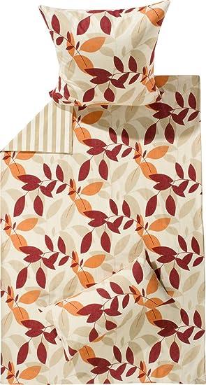 Irisette Bettwäsche Biber Rot Orange Natur Größe 135x200 Cm 80x80