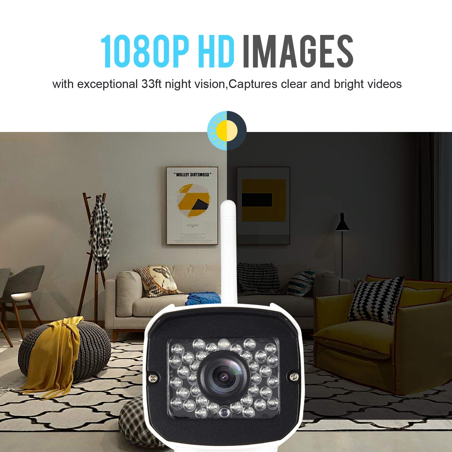 Outdoor WiFi Security Camera- 1080P HD Video Surveillance System - WiFi, Waterproof, IP Night Vision Outdoor Camera with 2-Way Audio and iOS, Android Compatibility (02) by AMICCOM (Image #3)