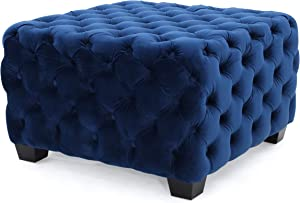 Melvek Modern Glam Button Tufted Velvet Ottoman, Navy Blue and Dark Brown