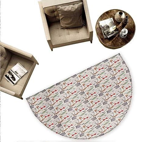 Amazon.com: Cojín semicircular beige de madera, patrón de ...