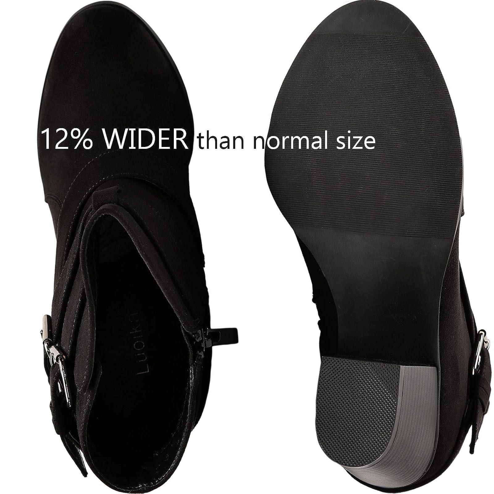 Luoika Women's Wide Width Ankle Boots - Black 10 XW US - 3