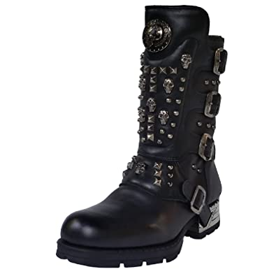 New Rock Engineer Boots mit Nieten und Skulls