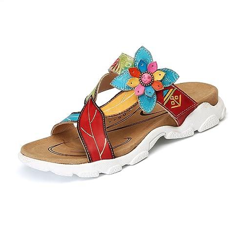 gracosy Platform Sandals Women Leather Flat Slip On Slipper Shoes Handmade Summer  Flip Flops Casual Beach 310816f95a4c