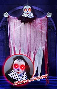 Halloween Decorations Hanging Ghost, 45 Inch Animated Clown Skeleton with Red Glowing Eyes and Voice Activated, Scary Circus Clown Props for Window Wall and Outdoor Indoor Yard Patio House Decor