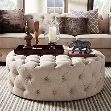 HILLS Knightsbridge Round Tufted Cocktail Ottoman With Casters Beige Linen