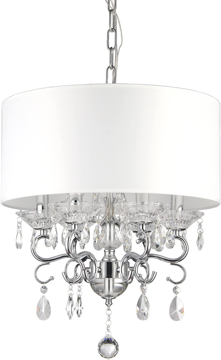 Edvivi 6-Light White Fabric Round Drum Shade Chrome Finish Crystal Chandelier Ceiling Fixture Glam Lighting
