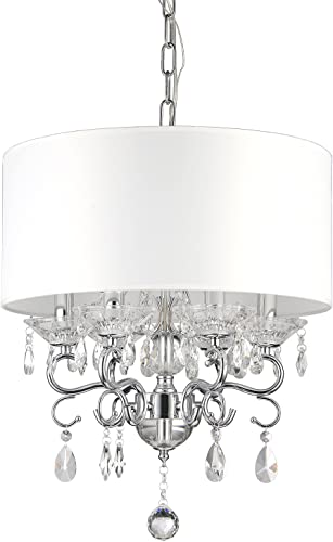 Edvivi 6-Light White Fabric Round Drum Shade Chrome Finish Crystal Chandelier Ceiling Fixture