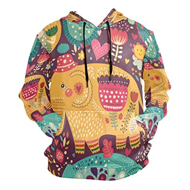 df2b2724ec07 Image Unavailable. Image not available for. Color: Hoodie Sweatshirts  Pullover Colorful Elephant Unisex Men's Women's ...