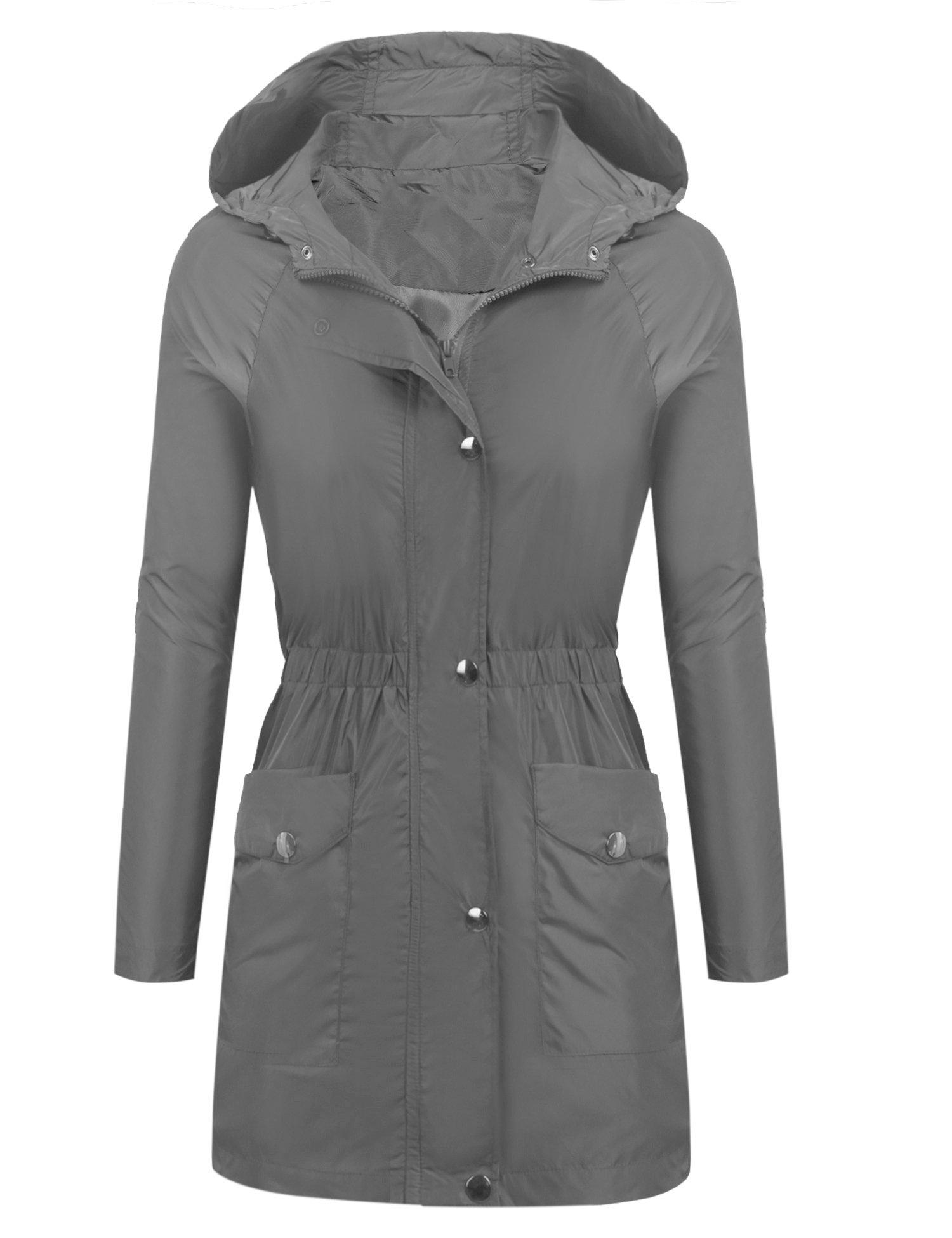 Beyove Womens Long Sleeve Lightweight Waterproof Outdoor Raincoat with Hooded Grey XXL