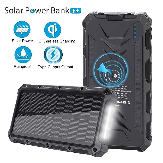SendowTek Qi Cargador de teléfono solar, cargador inalámbrico de ...