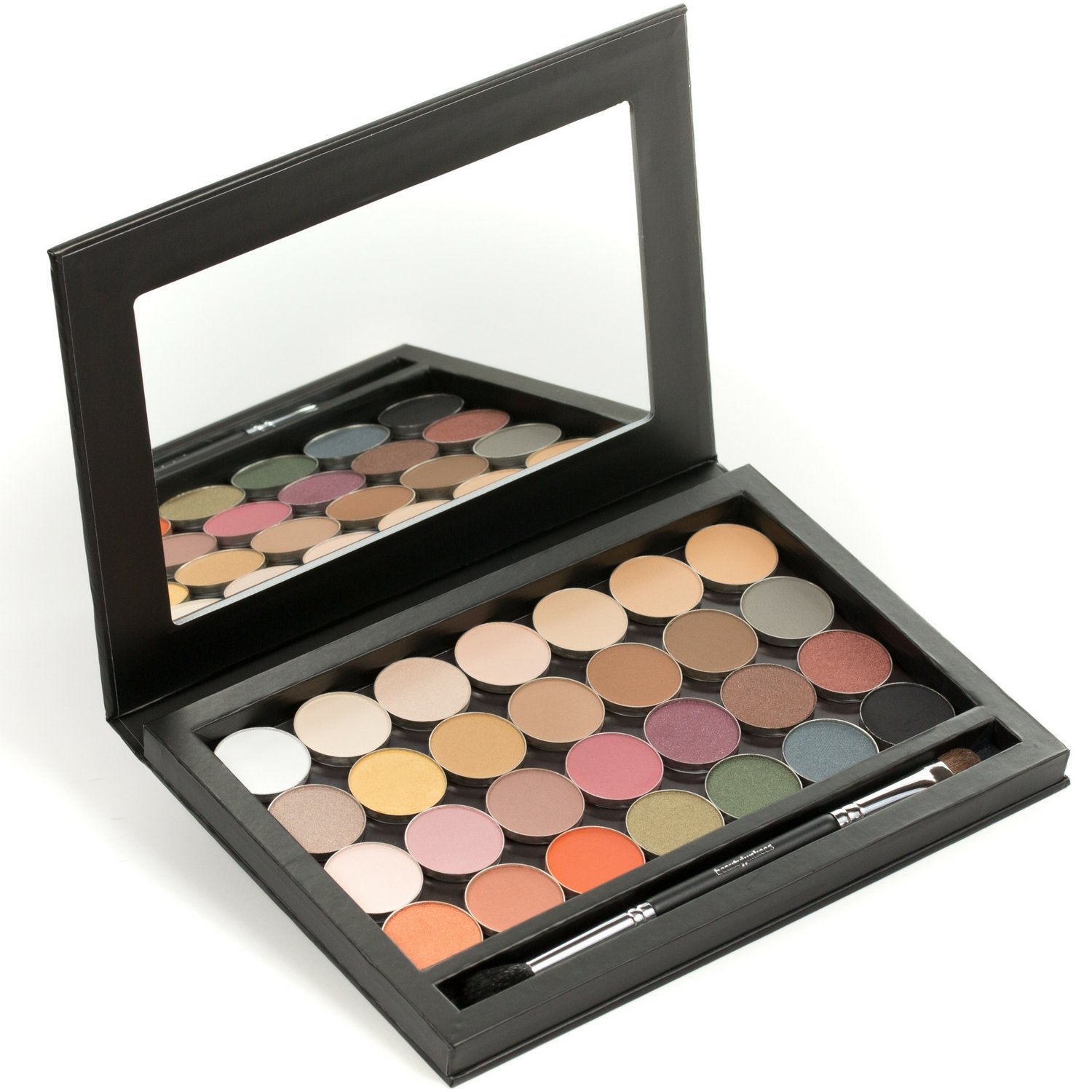 LIMITED EDITION 28 PC Eyeshadow Collection: 28 Single Eye Shadow Pans with a Magnetic Makeup Palette + Bonus Duo End Makeup Brush, Paraben Free, Gluten Free, Made in the USA