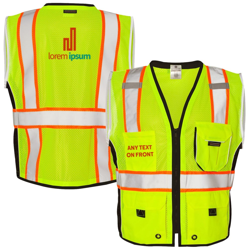 KAMAL OHAVA Custom Heavy Duty Reflective Safety Vest w/Logo, Lime, M