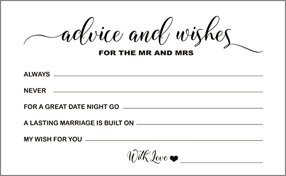 Advice for the couple cards Wishes for the new Mr and Mrs cards Bridal Shower Advice Cards Advice Cards