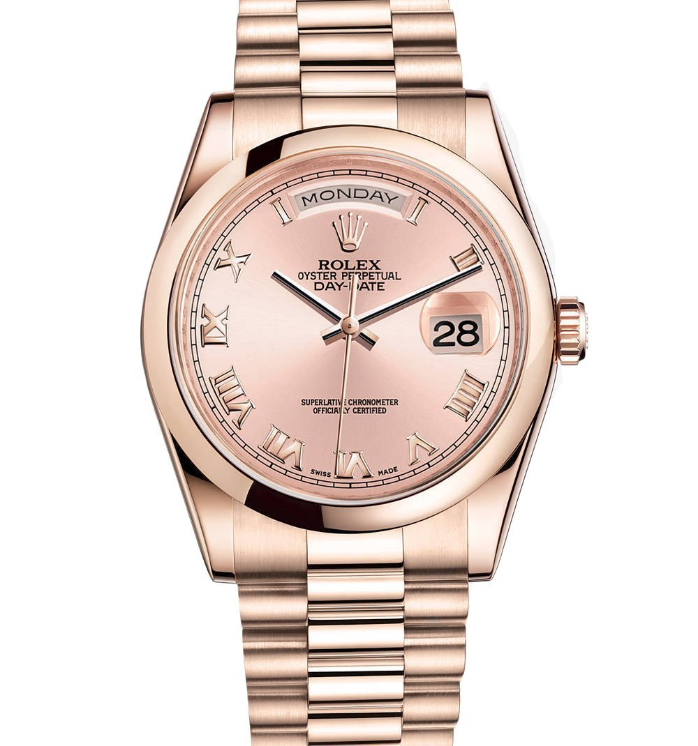 Rolex Day-Date President 36mm Everose Gold Watch 118205 Pink Dial