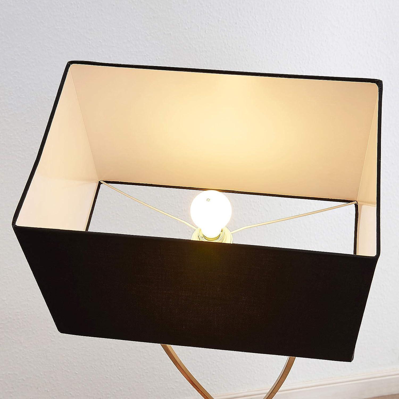1 luce, E27, A++ colore Nero lampada da terra in tessuto in Metallo ad es Lampada da terra Evaine Moderno Soggiorno /& Sala da pranzo di Lucande