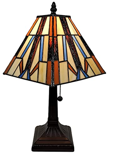 Amora Lighting Tiffany Style Accent Lamp 10 Tall Stained Glass White Yellow Dragonfly Rose Vintage Antique Light D cor Nightstand Bedside Living Room Bedroom Gift AM092ACCB, Multicolored