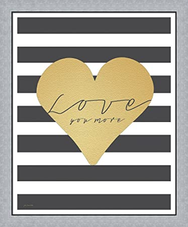 Amazon.com: Faux Gold Love You More - Stripes by Jo Moulton Framed ...