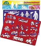 Lena 65773 - 2 Zeichenschablone Fahrzeuge und Menschen, ca. 26 x 19 cm