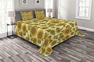 Ambesonne Sunflower Bedspread, Funky Style Sunflower in Pastel Colors Old Fashioned Nostalgic Vintage Print, Decorative Quilted 3 Piece Coverlet Set with 2 Pillow Shams, King Size, Yellow Green