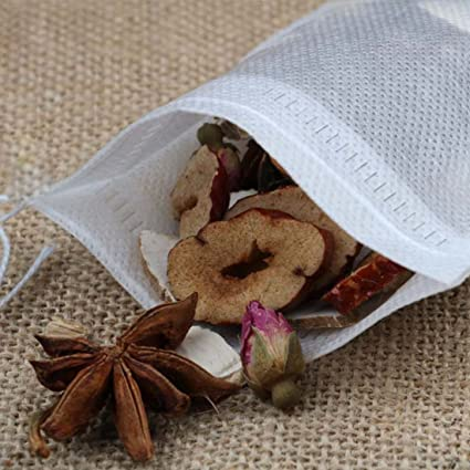 100 MQ Tea Filter Bags Disposable Tea Infuser with Drawstring for Loose Leaf Tea Herb Soup and Coffee