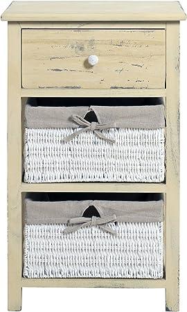 Cassettiera Mobile a cassetti Mobile Comodino Cassettiera in legno di Paulonia 3 ceste nero-bianco