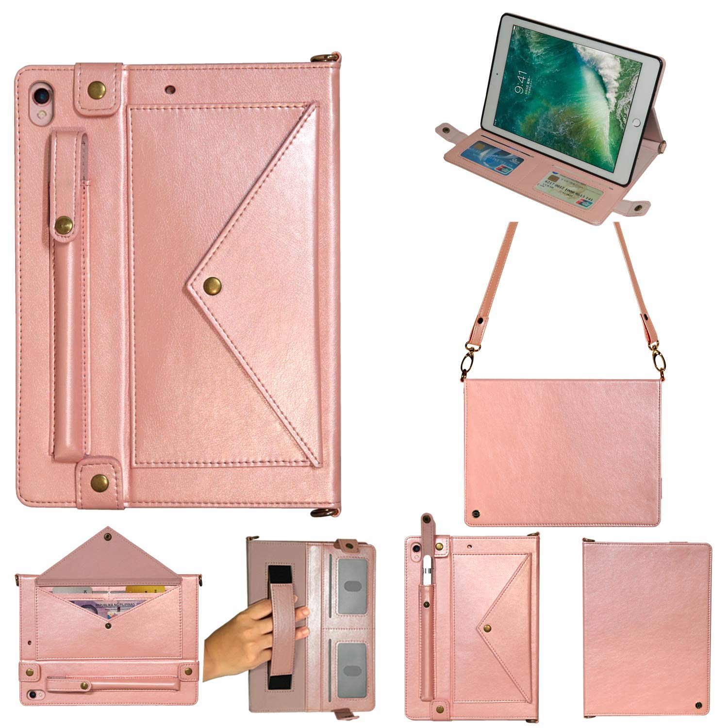 MeiLiio Folio Case for iPad Pro 10.5 Wallet File Folio Pocket PU Leather Hangbag Shell Magnetic Stand Multi Function Sleeve with Hand Strap Protective Cover for iPad Air 3 Women&Girl (Rose Gold) by MeiLiio