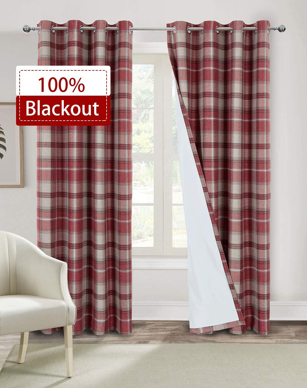 Alexandra Cole Red Plaid Curtains 95 Inches Length Blackout Curtains for Bedroom Check Farmhouse Living Room Curtains 2 Panels