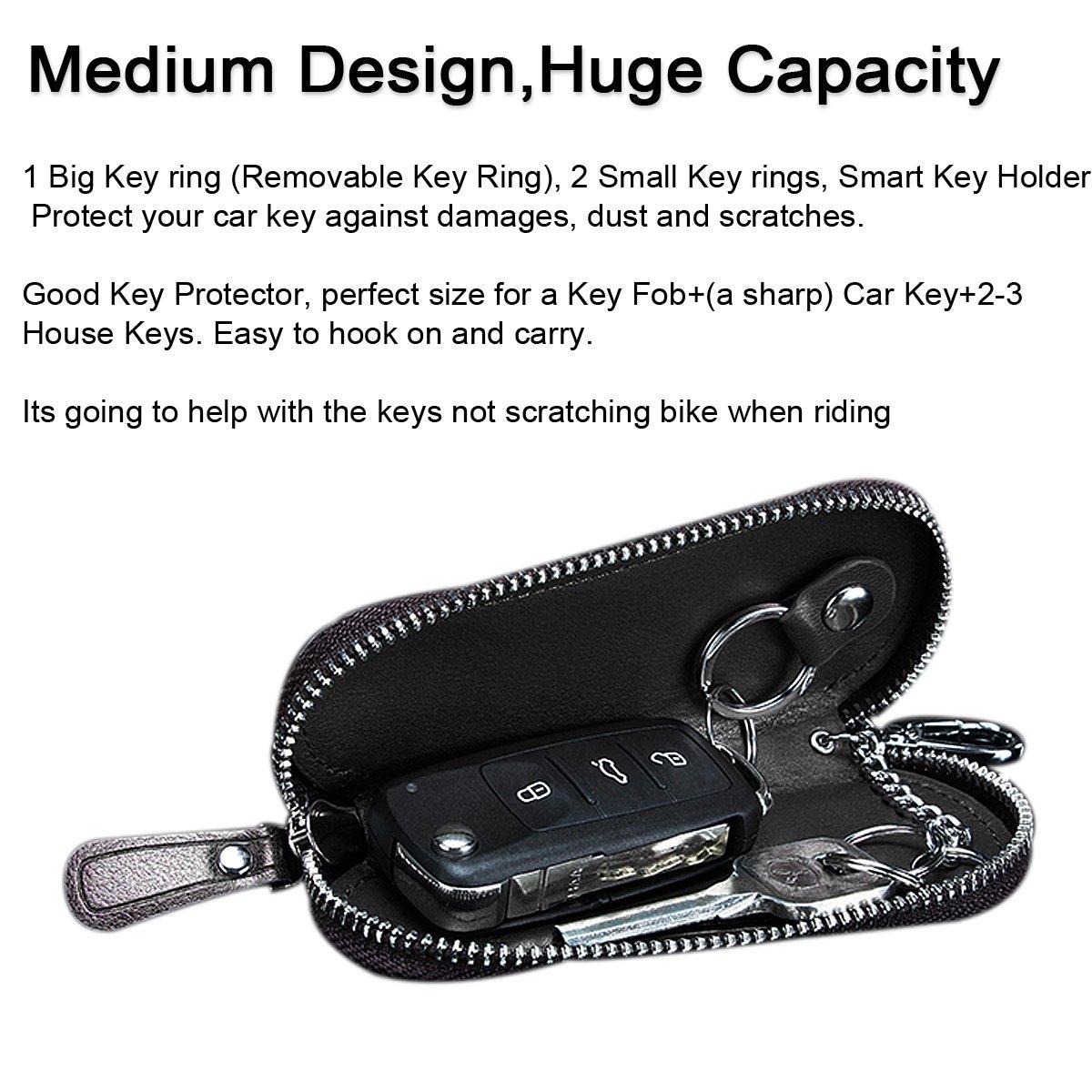 Mens Genuine Leather Car Keychain Key Holder Bag Zipper Case Remote Wallet Bag