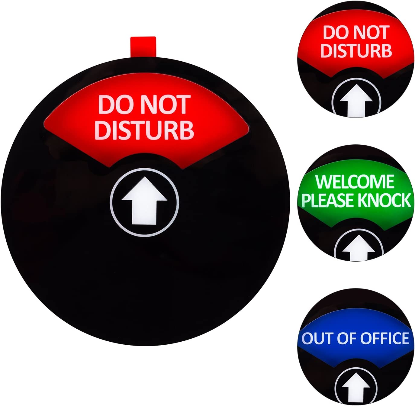 Kichwit Privacy Sign, Do Not Disturb Sign, Out of Office Sign, Welcome Please Knock Sign, Office Sign, 5 Inch, Black