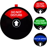 Kichwit Privacy Sign, Do Not Disturb Sign, Out of Office Sign, Welcome Please Knock Sign, Office Sign, Conference Sign for Offices, 5 Inch, Black