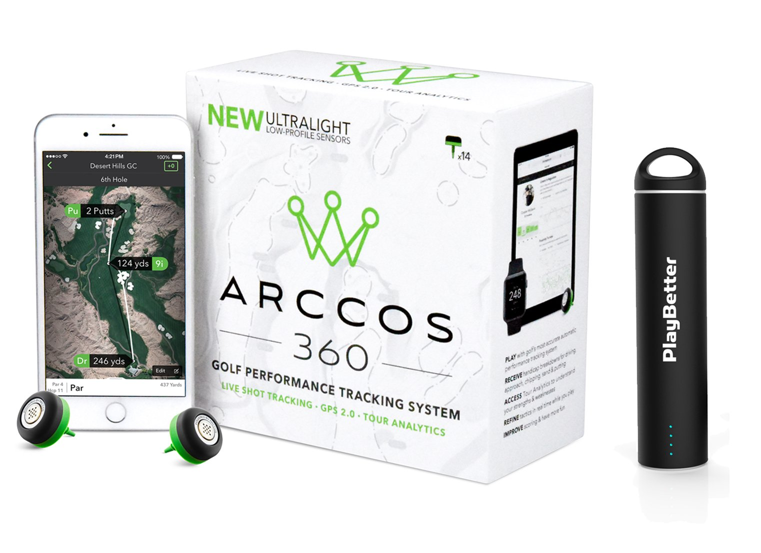 Arccos 360 with PlayBetter Portable Smartphone Charger | Golf GPS Live Shot Tracking System (for iOS & Android) 14-Sensor Set | App Offers Arccos Caddie | Bundle by Arccos Golf (Image #1)