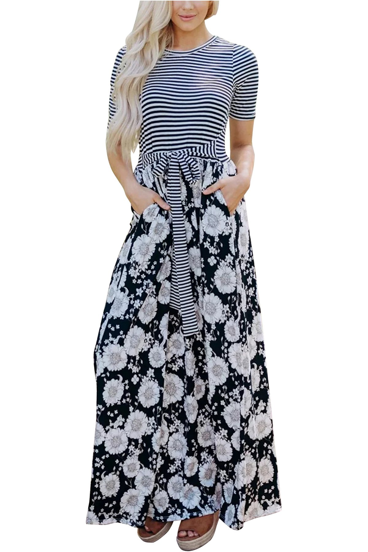 JOXJOZ Women's Casual Maxi Dress with Sleeves Striped Floral Long Party Dresses with Pockets ((Short Sleeve) Black, L)