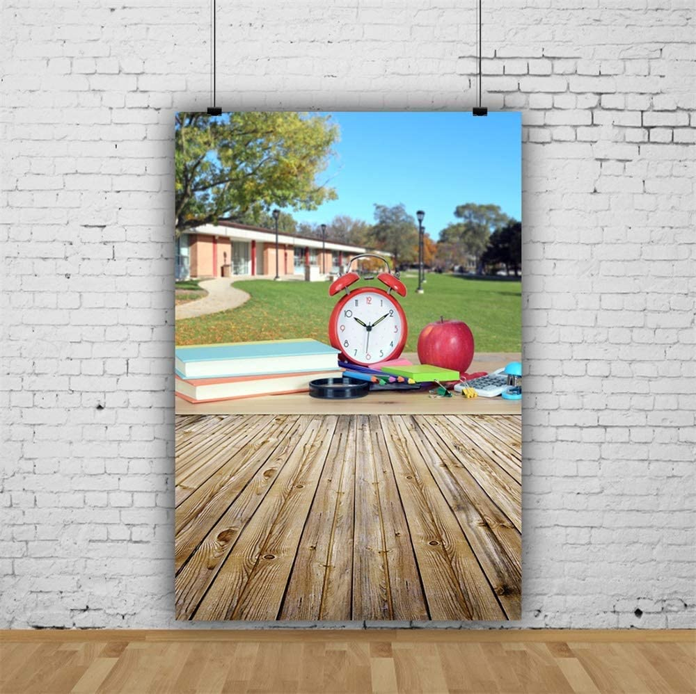 6.5x10ft Back to School Polyester Photography Background School Lawn Winding Path Books Red Alarm Clock Apple Rustic Wooden Floor Backdrop Students Shoot New Term Wallpaper