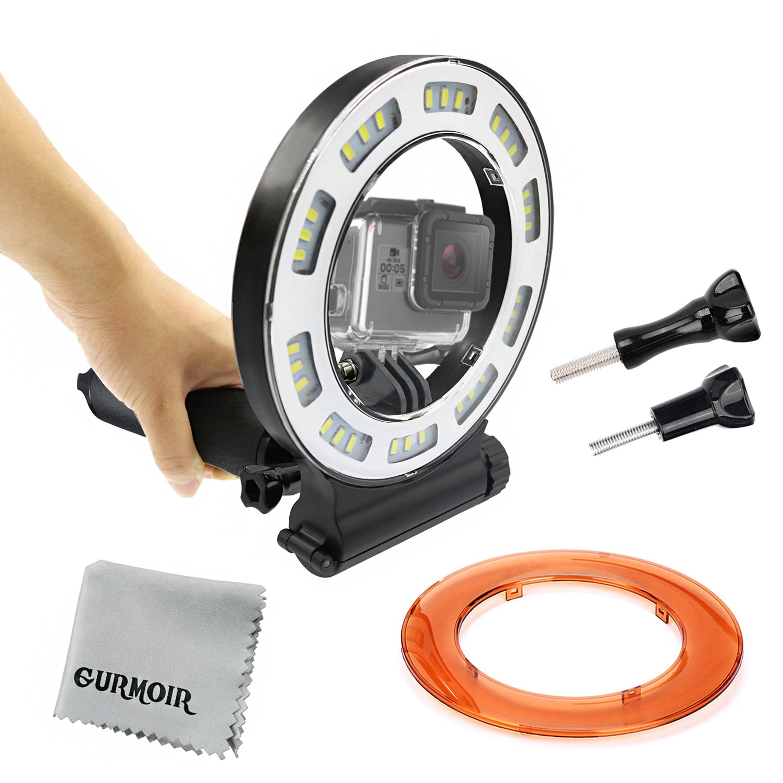 Gurmoir Waterproof Diving Light 40m Dive Underwater 1000 Lumen LED Flash Ring Light for GoPro Hero 6/5/HERO(2018)/5S/4/4S/3+ SJCAM YI and More Action Camera Scuba Diving(With Battery)