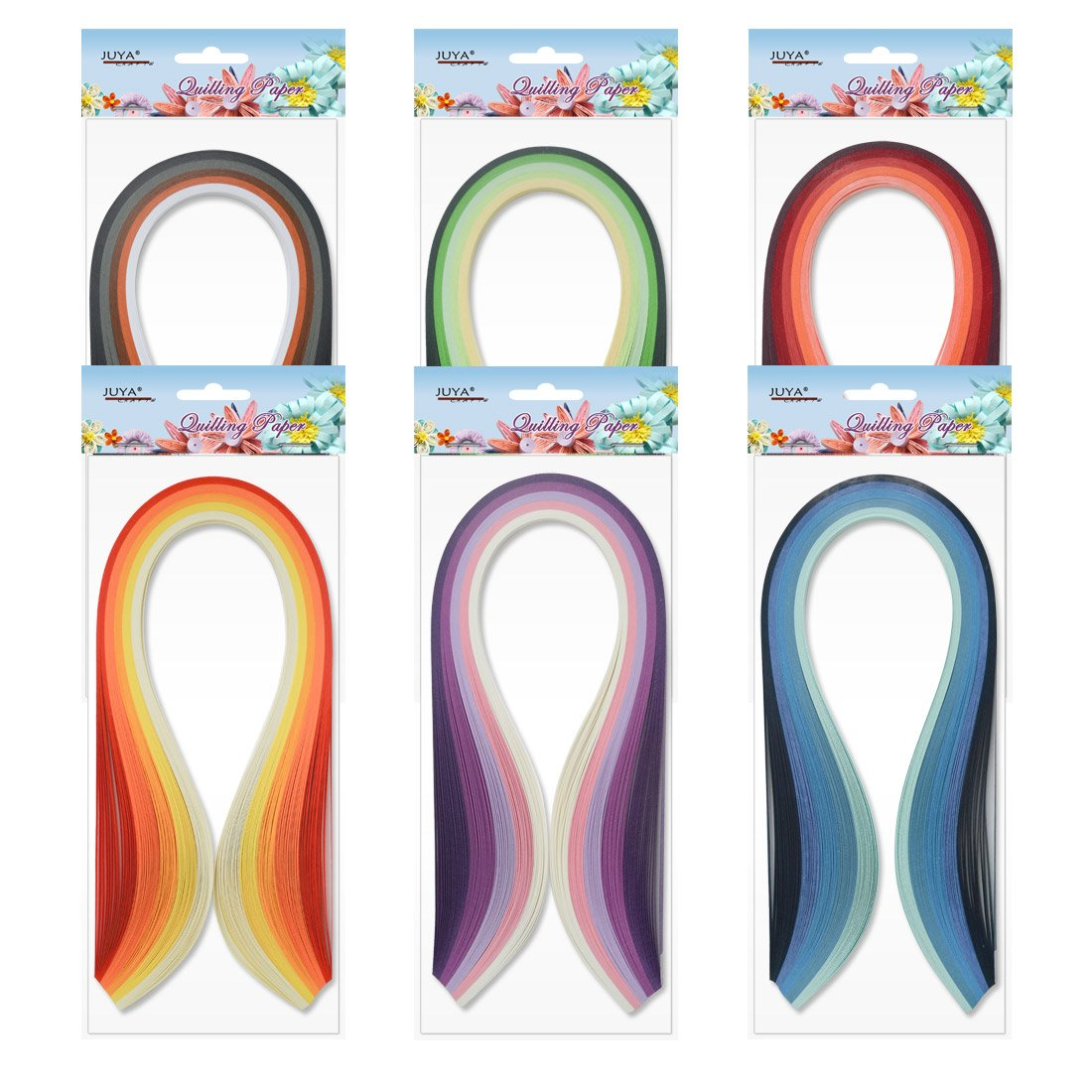 Width:5mm with Glue, Pink Tools Juya Paper Quilling Kits with 30 Colors 600 Strips and 8 Tools